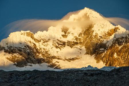 Alpamayo Peak in Huascaran National park in Peru Stock Photo