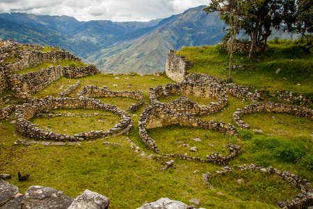 archeological: Ancient ruins of lost city in Kuelap, Peru Stock Photo