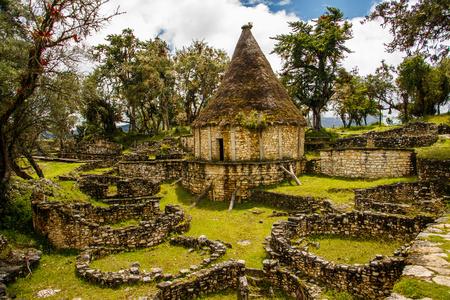 Beroemde mening van Verloren stad Kuelap, Peru