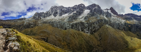 Panoramatic view of the mountains around Santa Cruz trek in Cordillera Blanca, Huascaran NP, Peru