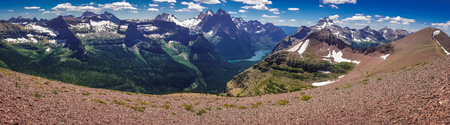 Panoramatic view of mountains in Glacier NP, US Stock Photo