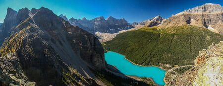 Panoramatic view of Moraine lake from Tower of Babel, Lake louise, Banff NP, Canada