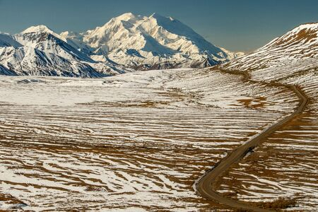 Mt.Denali, Mt. McKinley, the view from Eielson Visitors Centre in Denali National park, Alaska, US Stock Photo