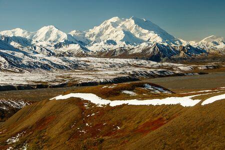 Mt. Denali uitzicht vanaf Eielson bezoekerscentrum in Denali National park, Alaska Stockfoto