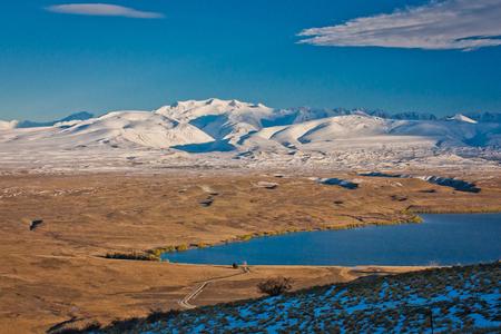 Detail of blue turquoise Lake Tekapo in South Island of New Zealand Stock Photo