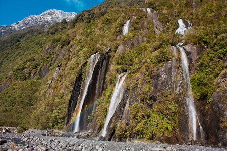 Bridal fall in Franz Josef Glacier park in New Zealand