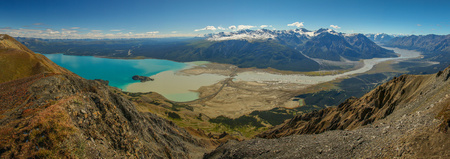 Panoramatic view of beatiful blue Kluane lake in Kluane National park reserve in Yukon territory, Canada