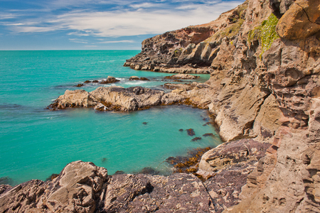Blue clear water of Bay near Christchurch city in New Zealand Reklamní fotografie