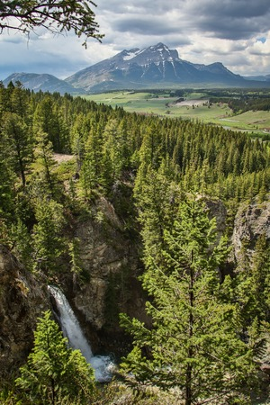 Star Creek Falls near Blairmore in Crowsnest pass, Canada, Southern Alberta landscape, beatiful canadian countryside, pure canadian nature