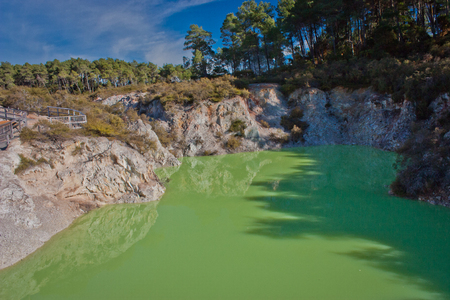 Devils Bath pond in geothermal park in New Zealand, poisonous green color of hot springs, new zealands tourist attraction, famous touristic place of New Zealand Reklamní fotografie