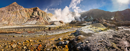 Landscape of volcanic White Island in New Zealand, volcanic land in Australasia