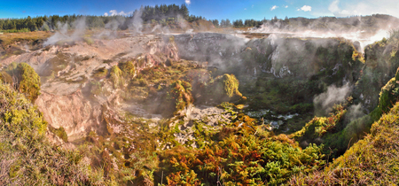 Craters of the moon geothermal park in Taupo in New Zealand, touristic attraction of New Zealand, Geothermal vacation, travel in Australasia, natural wonders, mother nature