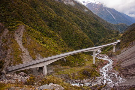 Bridge over the mountains of Arthurs pass in New Zealand, famous tourist spot in NZ, tourism, zelandia nature