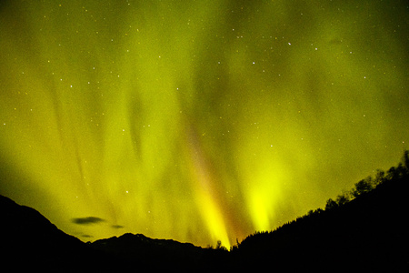 Magical Aurora borealis on Alaskan night sky