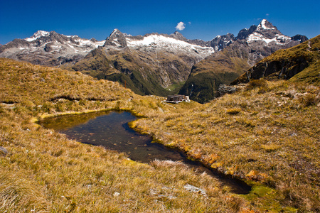 View of Milford range from Routeburn track in New Zealand, Harris Lake from the valley of Routeburn track in New Zealand, Lonely planet guide, natural beauty of New Zealand, South island of NZ, mountain adventure, great walks, trekking and camping