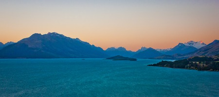 Lake Pukaki at the sunset time, New Zealand, Mt. Cook national park, travel NZ