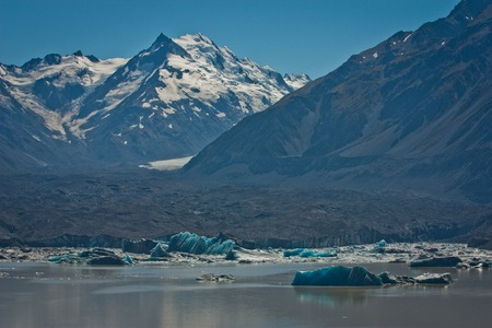 Majestic Tasman glacier and floating icebergs on the Tasman lake, NZ, impressive picture of glacier, zelandian natural beauty, Mt. Cook national park