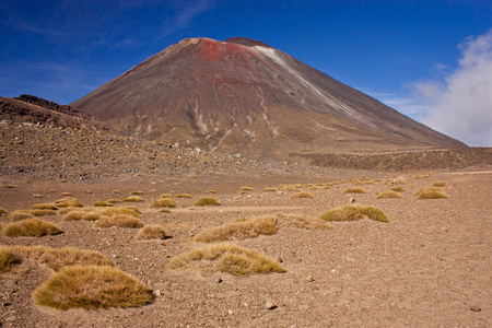 Famous stratovolcano of New Zealand Mt. Ngauruhoe in Tongariro National park, volcanic landscape, dry desert of geological volcanic area, great walk on the world according to Lonely Planet guide book, top vacation destination in December and January Reklamní fotografie - 116356411
