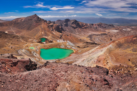 Emerald lakes on Tongariro Crossing track, one of the most beautiful great walks on the world according Lonely Planet guide book, travelers paradise, backpackers heaven, popular destination