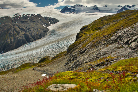 Exit glacier, the most famous glacier in Alaska, accessible glacier adventure, easy hiking trail Reklamní fotografie
