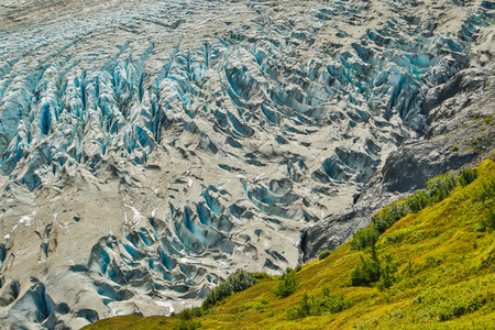 Close-up of Exit glacier in Kenai Fjords national park, Alaska, hiking glacier, glacier adventure in far north, Northern America road trip Reklamní fotografie