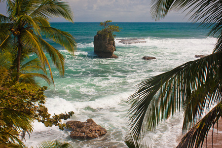 Giant rock in ocean near by Costarican coast, the best vacation, travel holiday in paradise, travel the world adventure