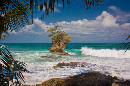 Giant rock in ocean near by Costarican coast, the best vacation, travel holiday in paradise, travel the world adventure, Picturesque view of ocean in Manzanillo on Costarican coast Reklamní fotografie