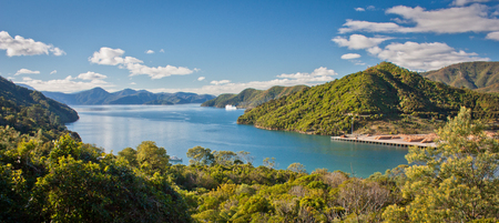 Panoramatic view of Cook Inlet from Queen Charlotte Drive near Picton, Marlborough departament in New Zealand, ferry from North Island to South Island of NZ, turquoise blue water of Picton inlet Reklamní fotografie