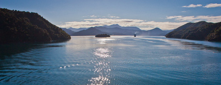 Crossing Cook Inlet by ferry from Wellington to Picton in New Zealand, popular touristic destination in Oceania, cruise from south island to north island of New Zealand