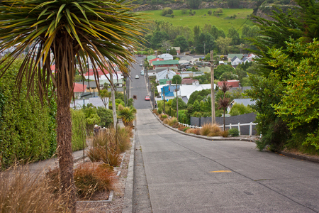 Baldwin street in Dunedin as the worlds steepest street, New Zealand, historical sight, popular touristic place in South Island of New Zealand 免版税图像 - 122686403