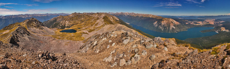 Panoramatic view of Nelson Lakes national park from Parachute Lookout, New Zealand, dream destination number one, summer travelling in Oceania, Zealandian national parks hiking, most beautiful treks on the world according lonely planet guide book Reklamní fotografie