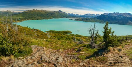 Panoramatic view of Skilak lake in Kenai peninsula in Alaska, easy hiking around Skilak lake Reklamní fotografie - 127508265