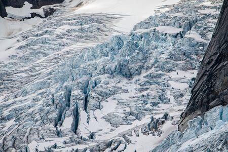 Dangerous aspect of glacier hiking in Bugaboos provincial park in BC, Canada, crevasses in Bugaboo glacier