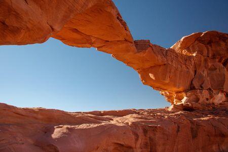Little bridge in Wadi Rum desert in Jordan, one of the most popular touristic attraction in Jordan