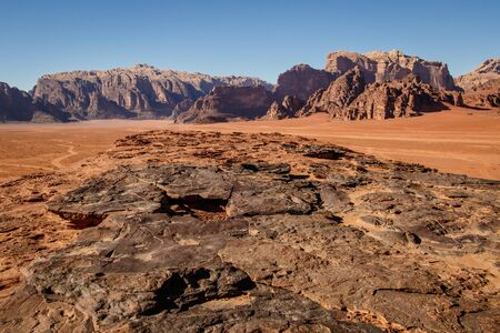 Beatiful rocky Wadi Rum desert in south of Jordan, jordanian bedouin adventure in rock climbing area