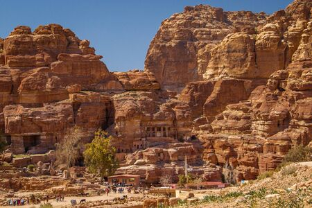 Red rose city Petra - ancient famous place in Jordan 免版税图像 - 134219600
