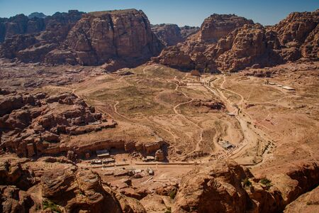 place of Petra in Jordan - famous Red rose city, antique settlement of arabic population, home of bedouins
