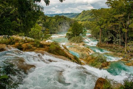 Wild water of Agua Azul tourist attraction in Chiapas state of Mexico, Waterfall protected area between town of Palenque and San Cristobal, mexican natural adventure places