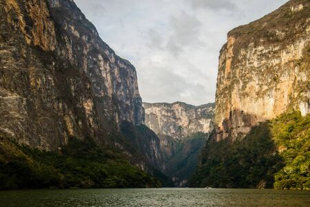 National park of Sumidero canyon as one of the must see places in mexican state Chiapas, high walls of huge canynon along river Grijalva Banco de Imagens