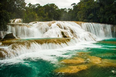 Magical green waterfall of Agua Azul in mexican Chiapas, vacation in Mexico, must see in Mexico, natural treasure of Mexican state Chiapas