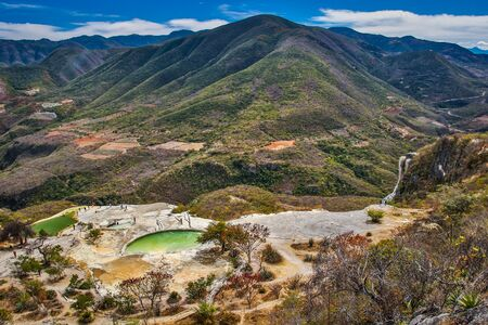 Popular touristic attraction Hierve el Agua in Mexico, must see travel spot of mexican Oaxaca region, beautiful water attraction in Mexico