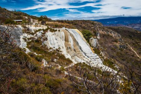 Travertine terrace of Hierve el Agua in mexican region of Oaxaca, popular touristic place in South Mexico