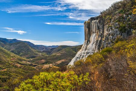 Impressive rock formation in Oaxaca region, Hierve de Agua popular touristic attraction