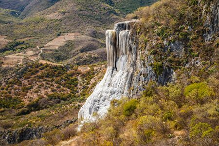 Famous travel spot in Oaxaca region of Southern Mexico - Hierve de Agua, touristic place number one, best holiday experience