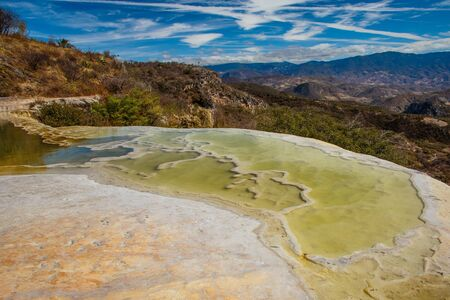 Mineral pool of famous place called Hierve de Agua in Souhthern part of Mexico, holidays in mexican Oaxaca region, touristic place known for beautiful water pools and rock formations Reklamní fotografie
