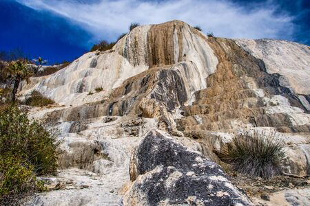Impressive rocky phenomenon in place of Hierve de Agua in southern mexico, touristic spot in Oaxaca region