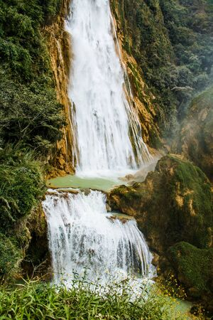 Two level natural waterfall Chiflon in Chiapas state of Mexico, popular touristic destination