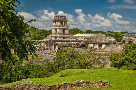 Mayan archeological site in Palenque in Mexico, jungle historic indian site in Mexican town of Palenque, sightseeing vacation in North America