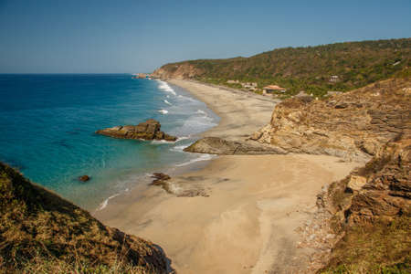 Quiet beach of Zipolite village in maxican region of Oaxaca