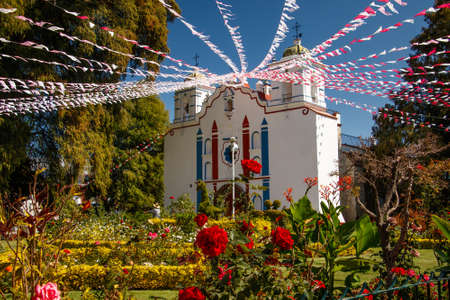 Church in mexican village Tule in Oaxaca region, mexican touristic attraction in small village huge old tree